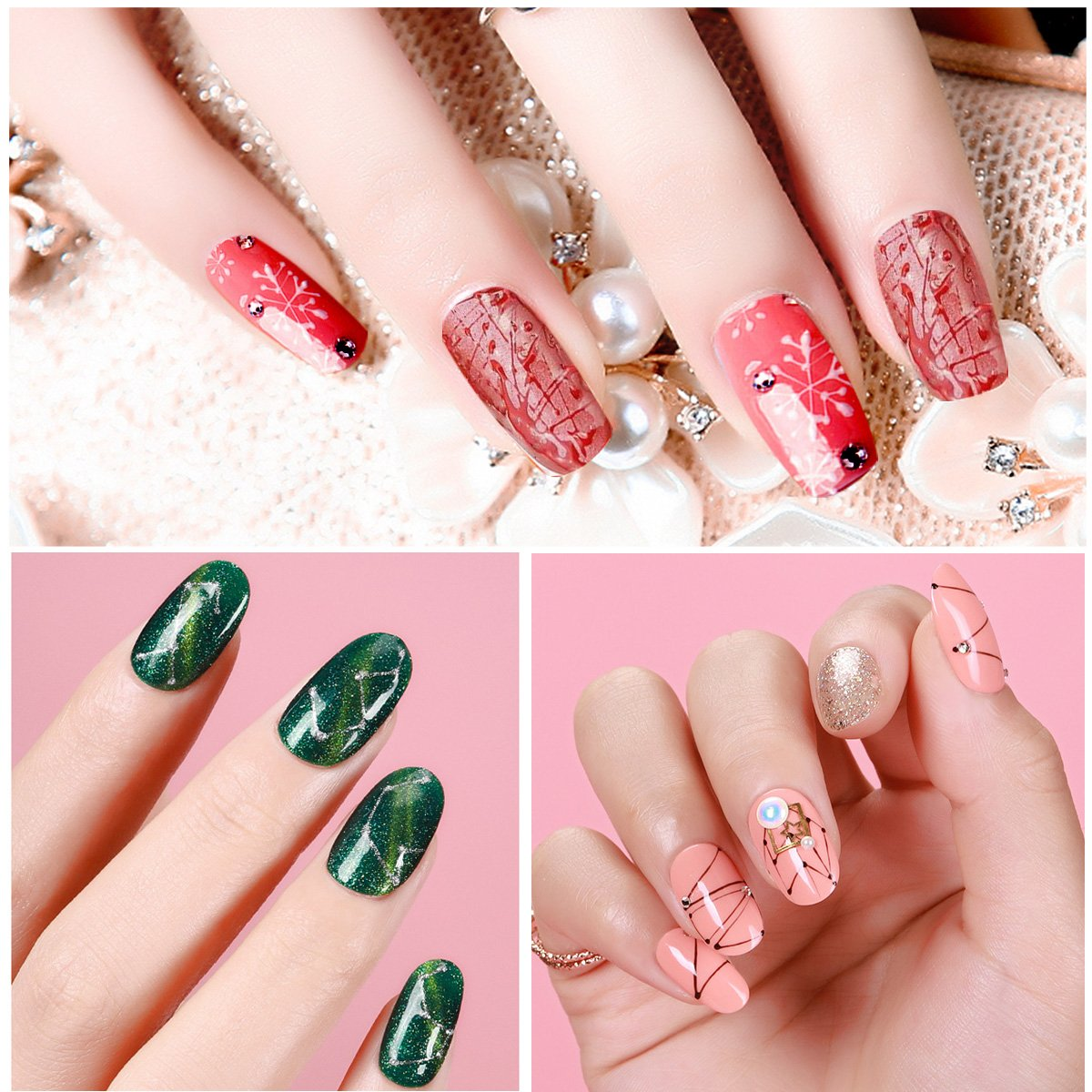 Saviland - Esmalte de uñas para pintar en 6 colores, kit de decoración de uñas de gel para dibujar línea 8 ml (color blanco, negro, rojo, azul, ...