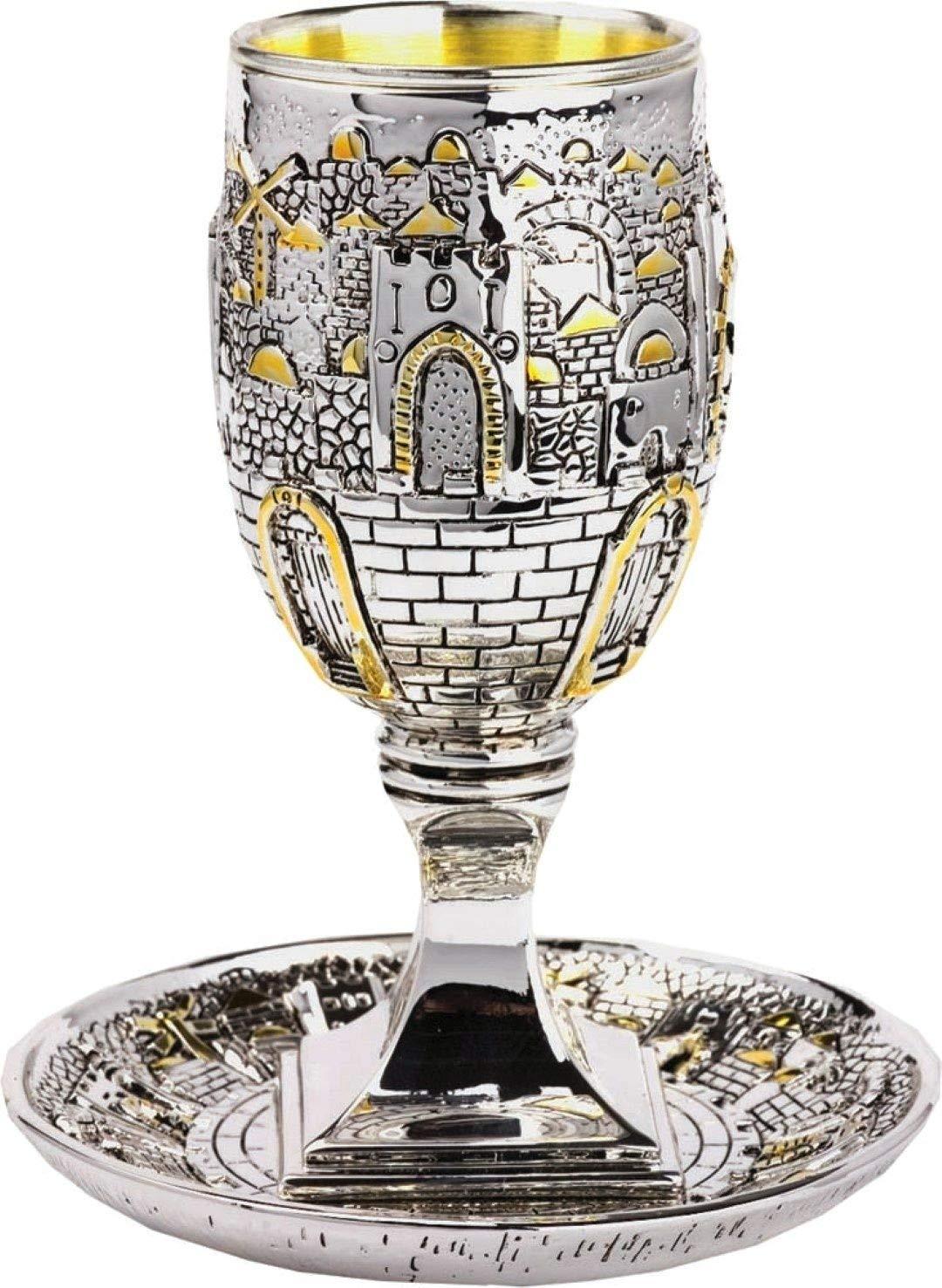 Silver Plated KIDDUSH CUP with Matching Tray Jewish Shabbat Set Jerusalem Of Gold Israel Judaica Gift