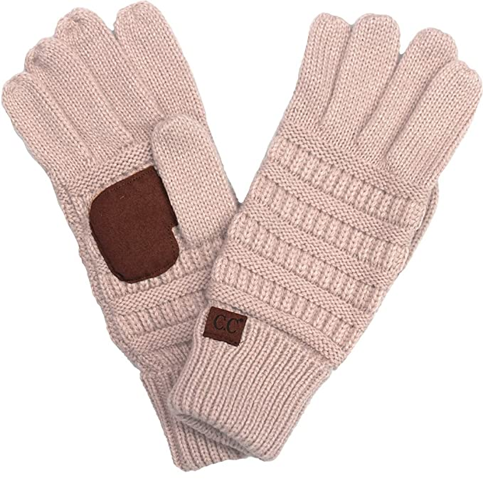 10c61722b13 BYSUMMER C.C. Smart Touch Winter Warm Knit Touchscreen Texting Gloves ( 1  Burgandy Pink Multi) at Amazon Women s Clothing store