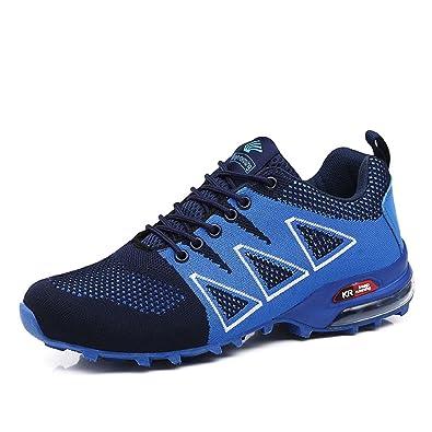 LILY999 Herren Wanderschuhe Trekking Schuhe Rutschfeste Atmungsaktive Traillaufschuhe Leichte Bequeme Laufschuhe(Schwarz,Größe 45)
