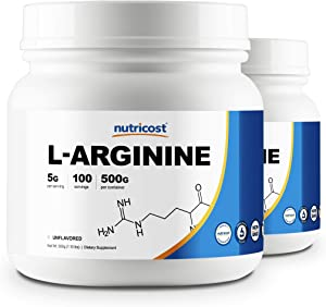 Nutricost L-Arginine (500G) (2 Bottles) - Pure L-Arginine Powder (500G Each) - 5G Per Serving …
