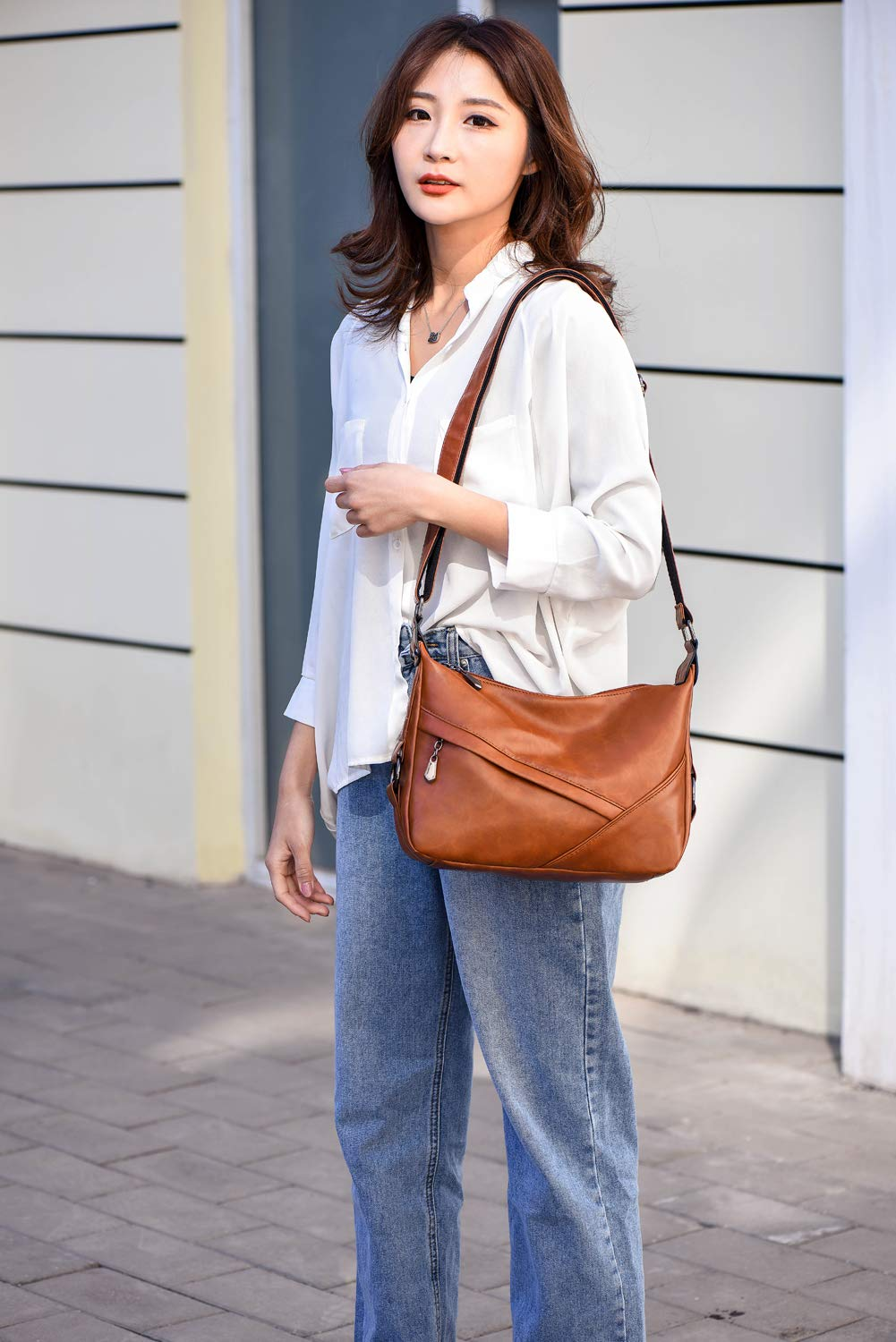 Women's Retro Sling Shoulder Bag from Covelin, Leather Crossbody Tote Handbag New Brown by Covelin (Image #3)