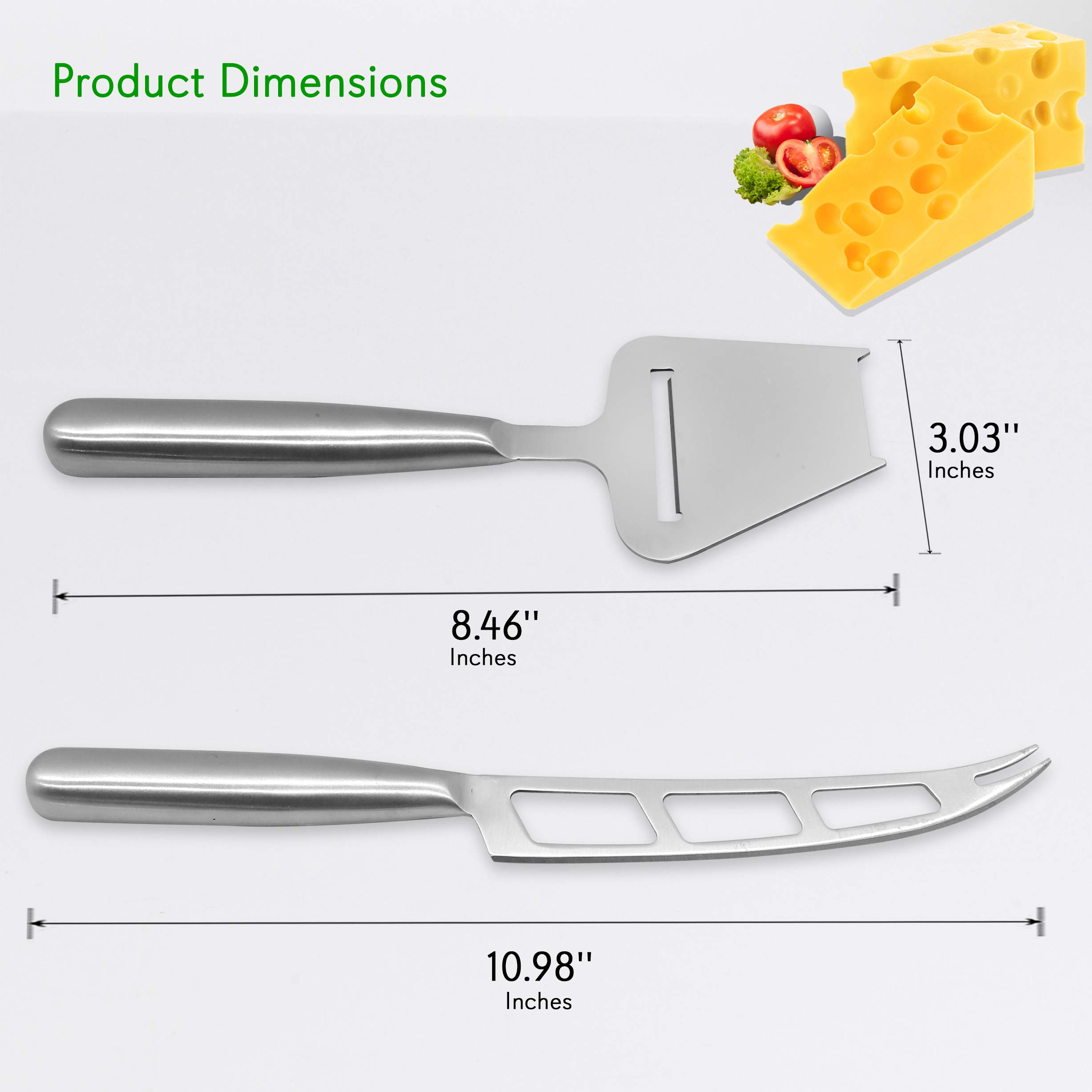 2 Piece Cheese Cutting Set - Portable Fancy Stainless Steel Non Stick Cheese Cutter Knife and Cheese Slicer - Cut, Shave, Slice, Serve, Spread - Gouda Blue Brie Parmesan Cheddar - NutriChef PKCNF10 by Nutrichef (Image #7)