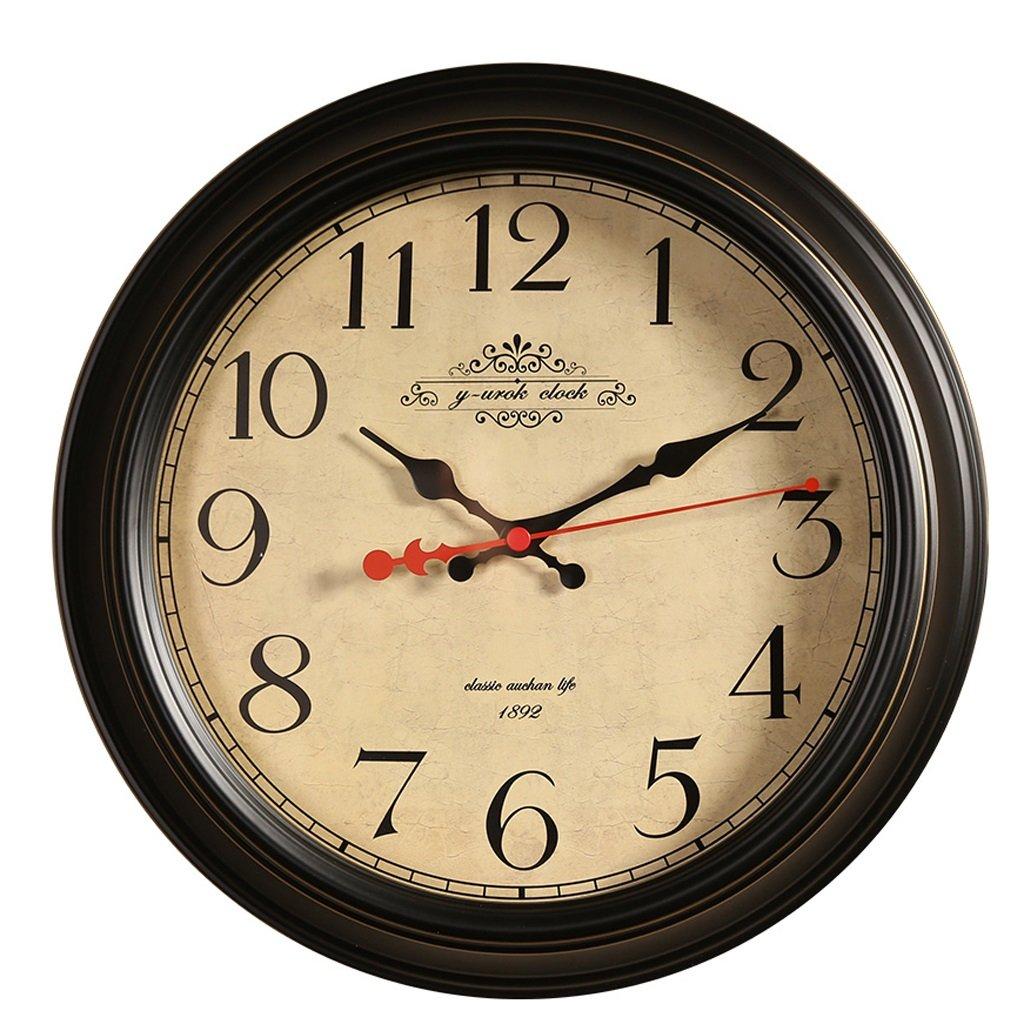 掛け時計 16インチアメリカンリビングルームホームウォールクロックモダンミニマリストクリエイティブクロックベッドルーム北欧サイレントクォーツウォールクロック B07DRFSBR5