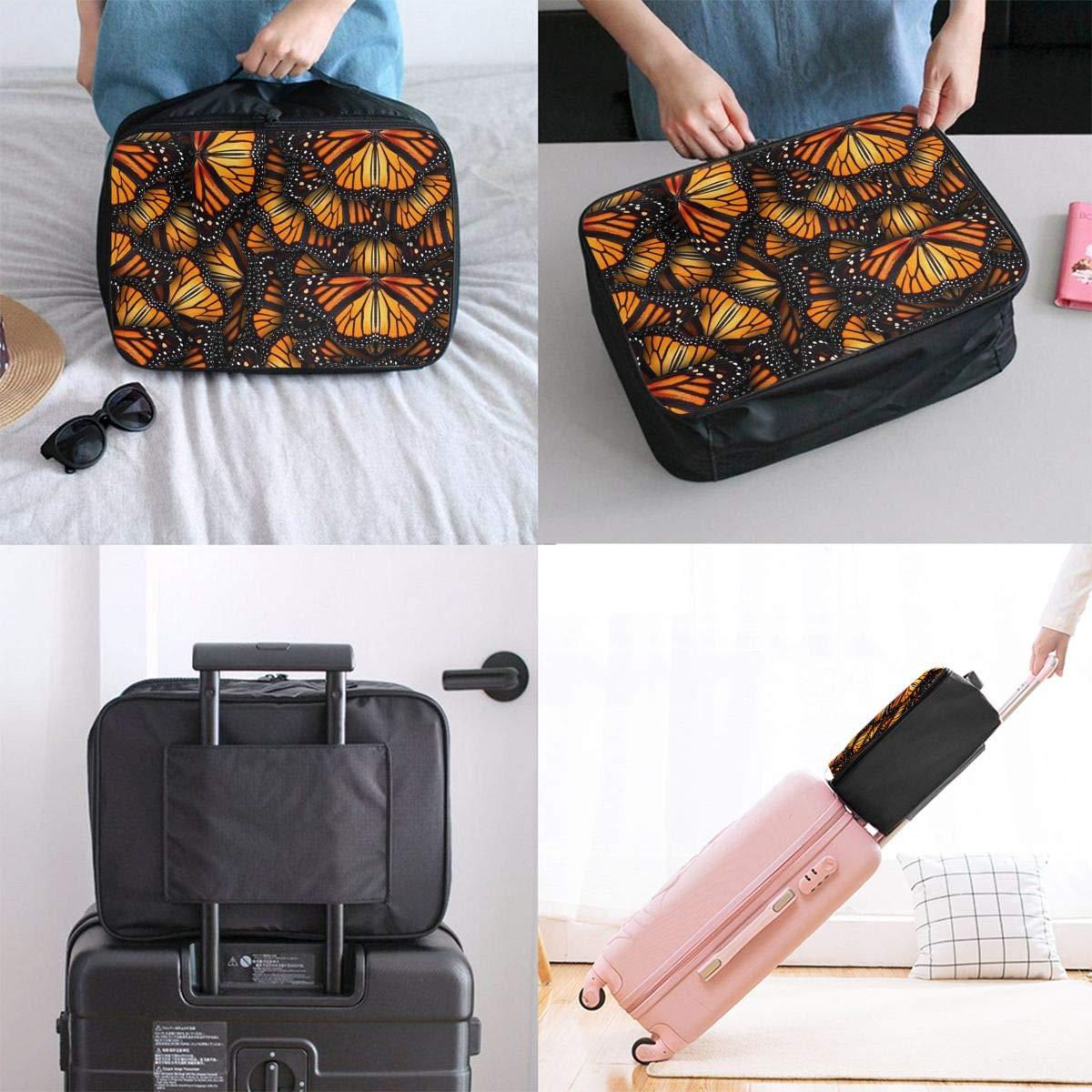 Heaps Of Orange Monarch Butterflies Travel Duffel Bag Waterproof Fashion Lightweight Large Capacity Portable Luggage Bag