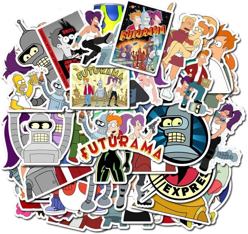 Futurama Water Bottle Stickers for Laptop,Cute Anime Turanga Leel Aloa Mars Philip J. Fry Waterproof Vinyl Decal Computer Phone Case Door Car Travel Case Skateboard Sticker Pack for Kids Teens Adult