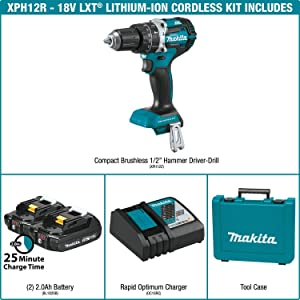 Makita XPH12R 18V LXT Lithium-Ion Compact Brushless Cordless 1/2 Hammer Driver-Drill Kit (2.0Ah),