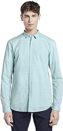 Tom Tailor Denim Mélange Camisa, 21206/Spearmint Green, L para Hombre: Amazon.es: Ropa y accesorios