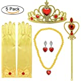 Principessa Dress up Accessori 5 Pezzi Set regalo per Belle Crown Scepter Collana Orecchini Guanti Giallo