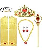 Principessa Dress up Accessori 5 Pezzi Set regalo per Belle Crown Scepter Collana Orecchini Guanti Giallo