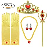 Princess Dress up Accessories 5 Pieces Gift Set for Belle Crown Scepter Necklace Earrings Gloves Yellow