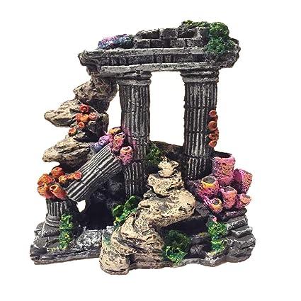 Evergreen - Adornos para decoración de acuario de columna romana de resina de simulación para peceras