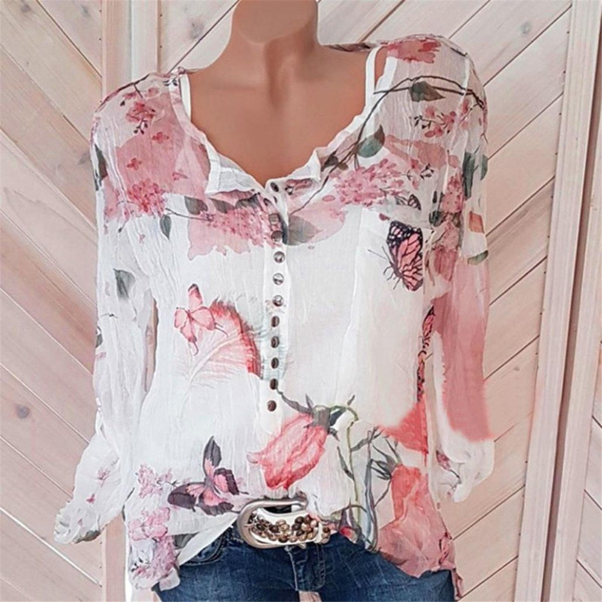 HongXander Plus Size Women Casual Floral Printed Beach Blouse Button T-Shirt Chiffon Irregular Hem Top by HongXander-Shirts (Image #2)