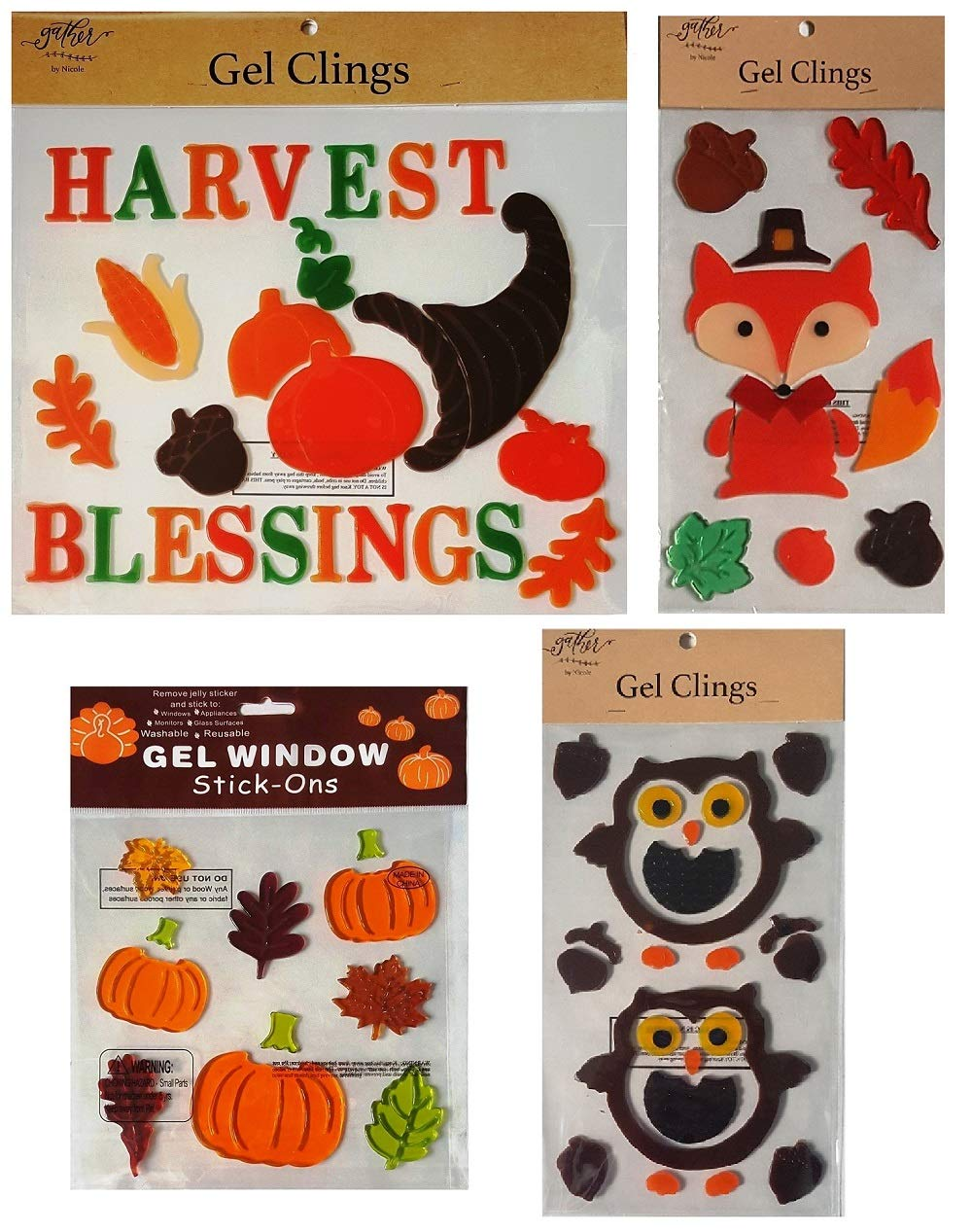 Fall Decorations - Window Gel Clings Woodland Owls and Fox, Harvest Blessings Cornucopia, Pumpkins, Acorns, Autumn Leaves, and More- 4 Sheets