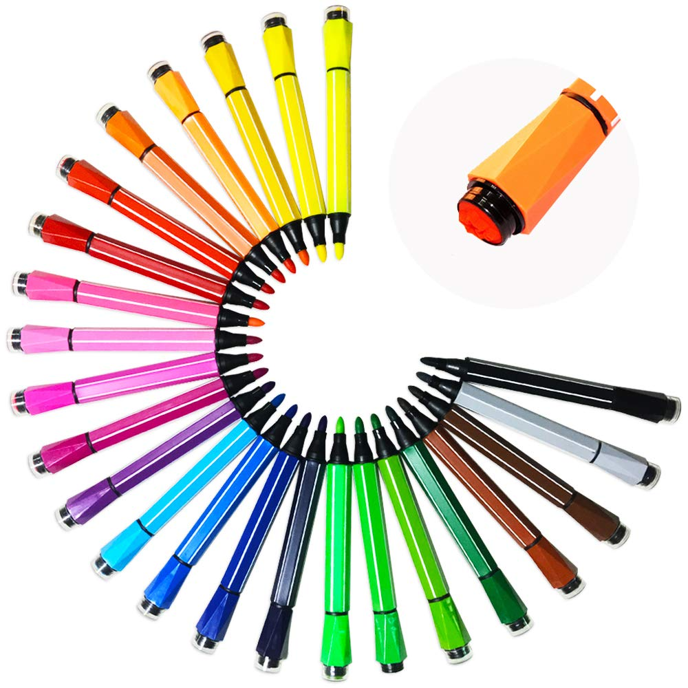 24 Cols Watercolor Pen Set with Stamp Washable & Nontoxic Colored Marker Pens for Coloring Books Manga Comic by Happlee Happlee Art