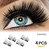 Amazon Price History for:VASSOUL Dual Magnetic Eyelashes - Magnet Ultra-thin 0.2mm - 3D Reusable Fake Eyelashes For Women Makeup - Natural Look (4 Pcs)