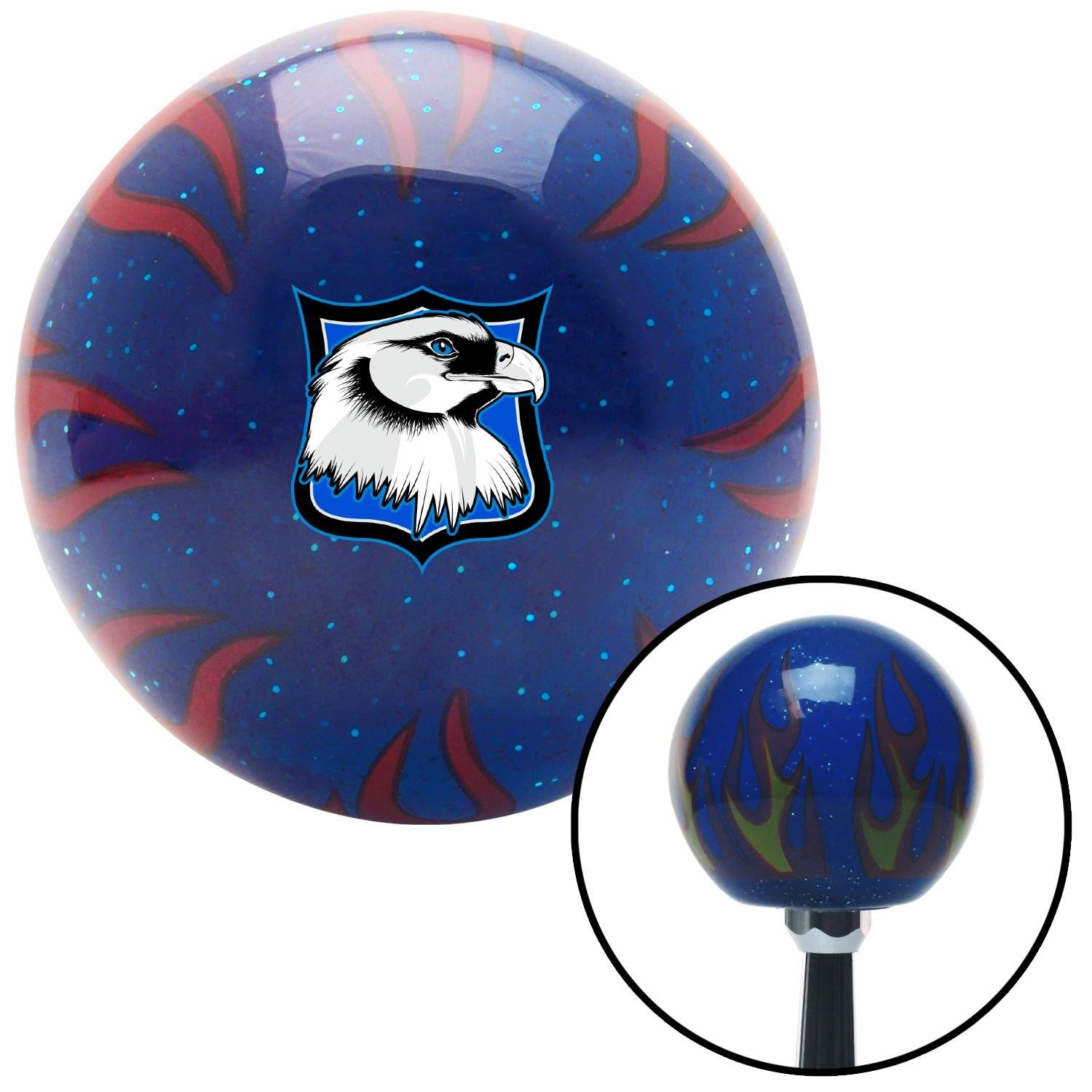 American Shifter 298053 Shift Knob Eagle Head Blue Flame Metal Flake with M16 x 1.5 Insert