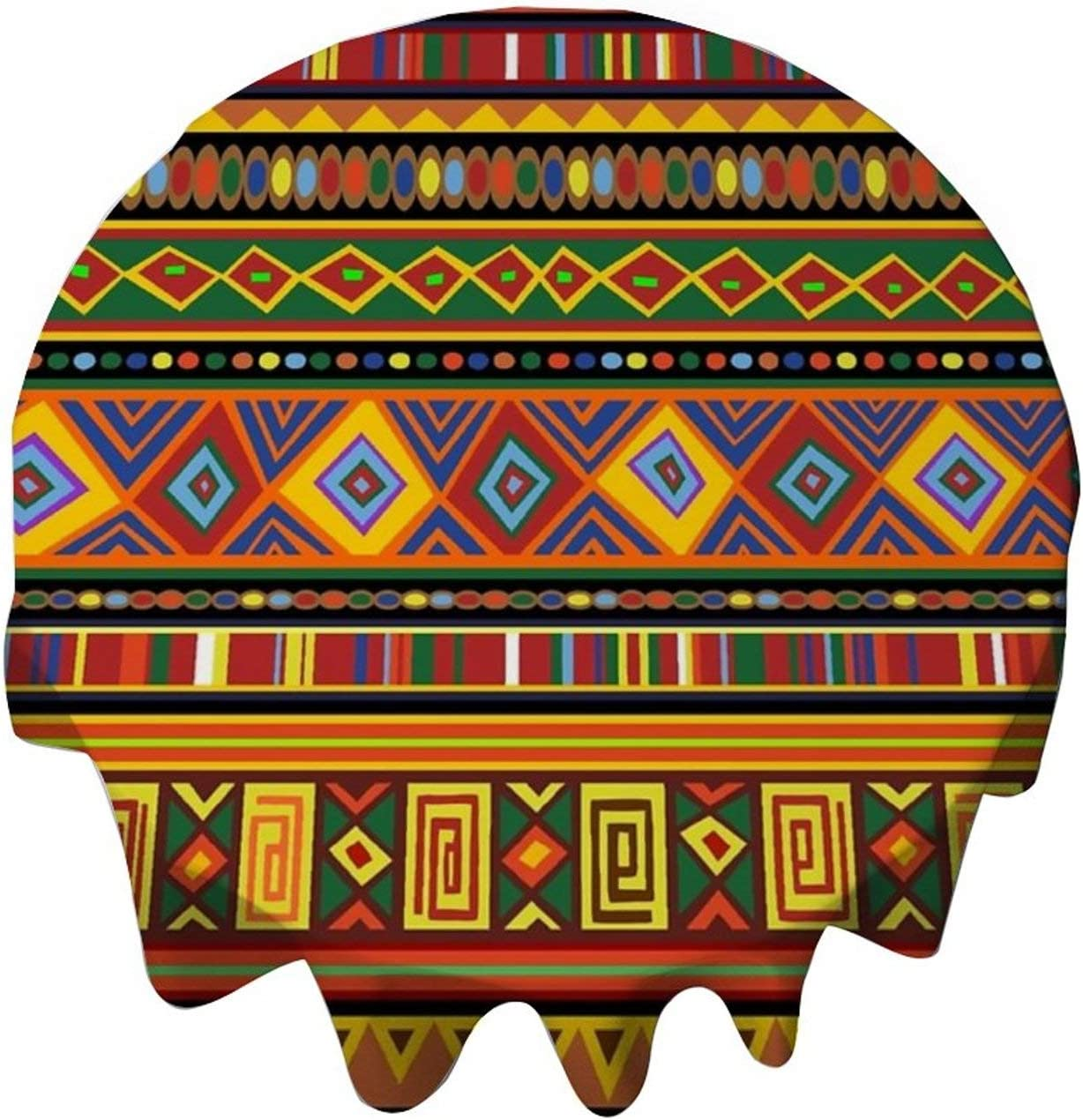 yyone Tablecloth Round 54 Inch Table Cover Ethnic Colorful Pattern Africa Art Table Cloth Decor for Buffet Table, Parties, Holiday Dinner, Wedding & More