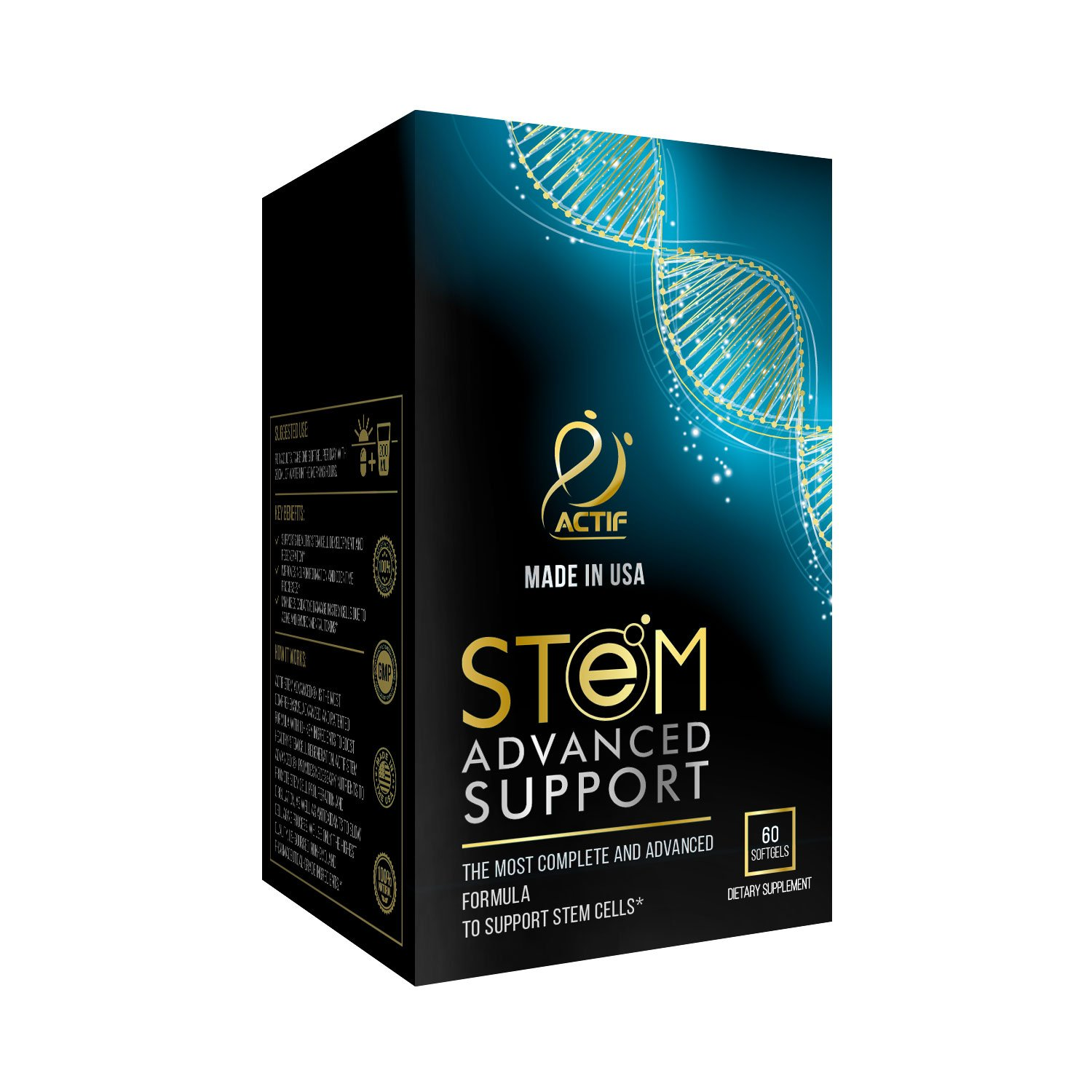 ACTIF STEM Cell Support – Maximum Strength with 10 Stem Cell Factors, Non GMO, 2 Month Supply, Made in USA