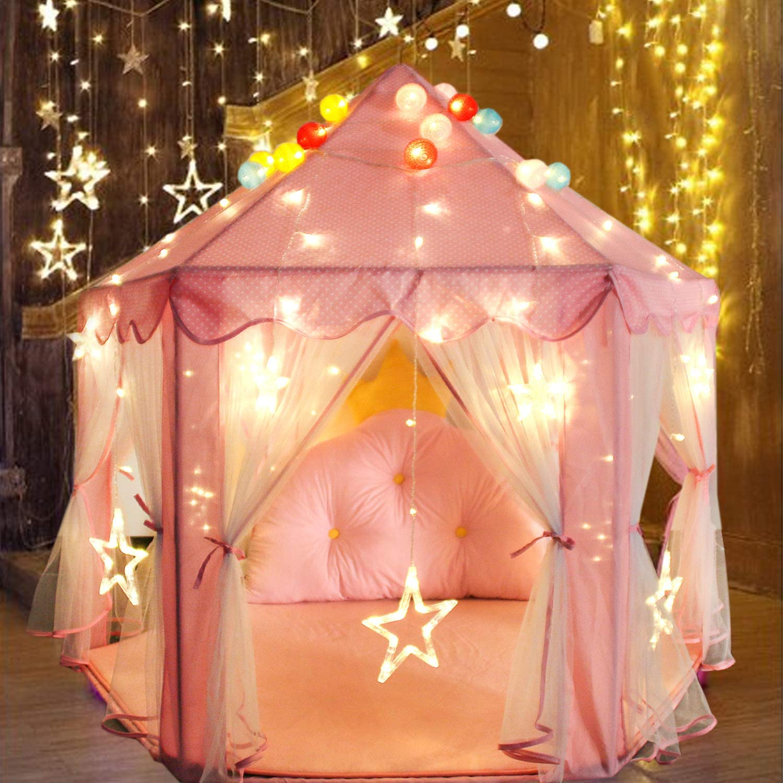 120 x 140cm YOOBE Coral Pad Soft Home Alfombra Alfombra para el Hexagon Princess Castle Kids Play Tent Rosa