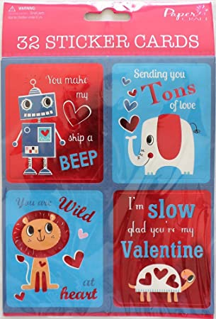 Amazon Com Valentine S Day School Kids Sticker Exchange Cards Boy