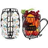 EPG-Life Metal Rotating 20 K Cups Coffee & Espresso Pod Holders and Organizer Mug Fruit Storage Basket, Black