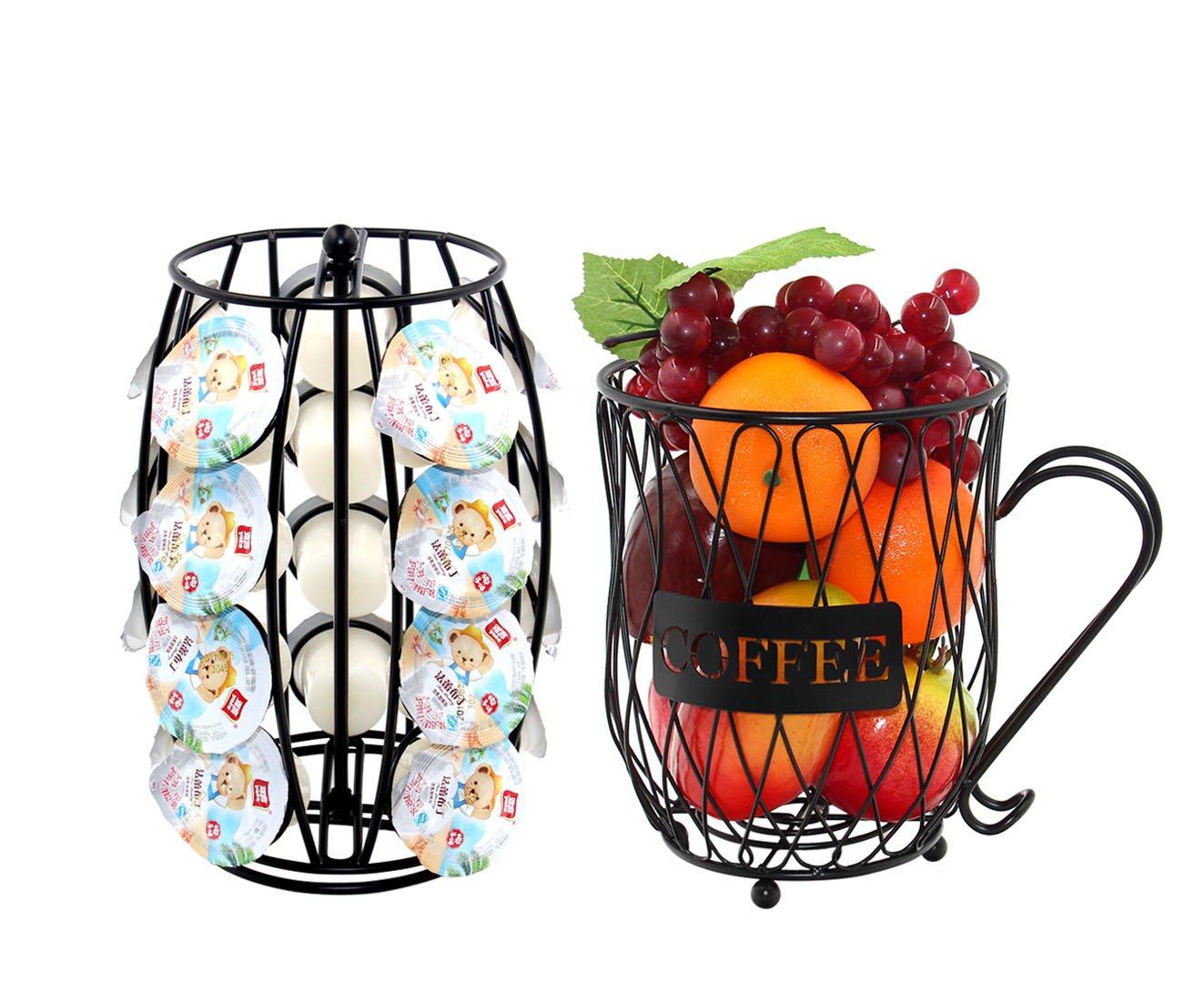 PAG Metal Rotating 20 K Cups Coffee & Espresso Pod Holders and Organizer Mug Fruit Storage Basket for Kitchen, Black