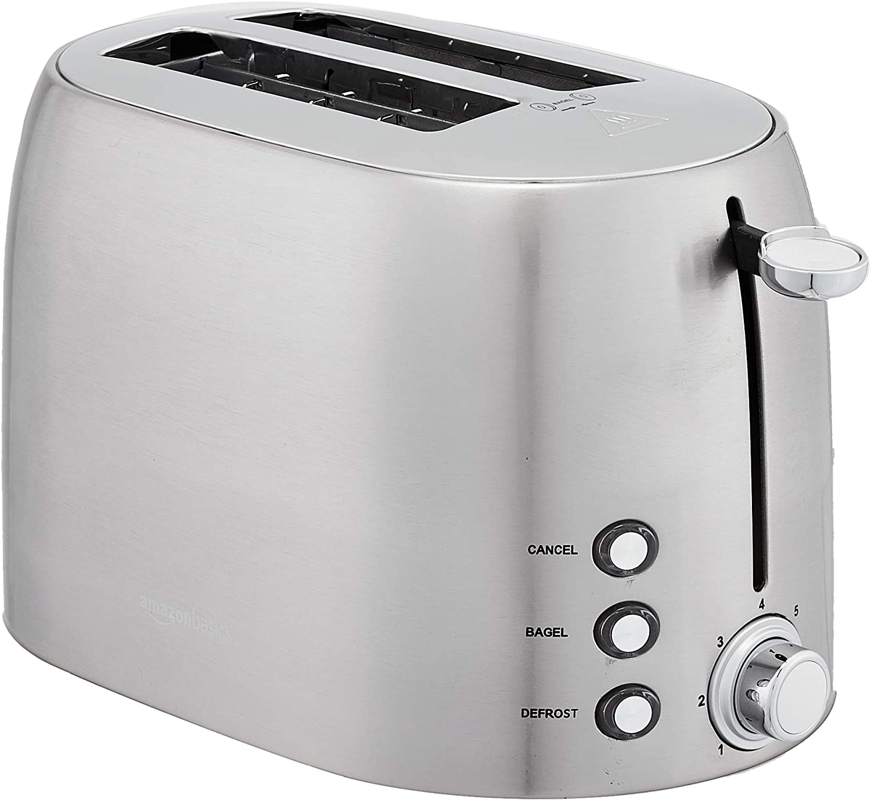 AmazonBasics 2-Slot Toaster, Brushed Silver