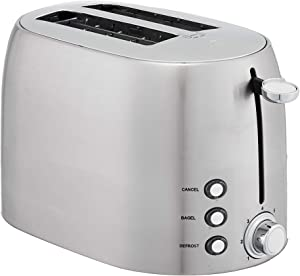 AmazonBasics 2-Slot Toaster, Brushed Silver