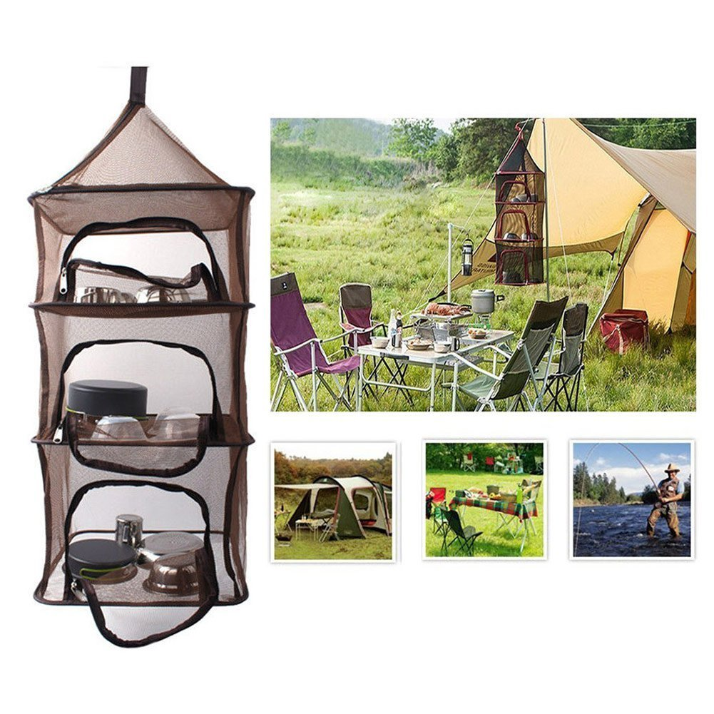 Camping Dry Net Clothing SUOMEI Dishes Camping Organizer Collapsible Mesh Dryer Storage for Home Picnic Camping Vegetables Food Fruit BBQ Tableware 4 Layer Outdoor Hanging Folding Drying Rack