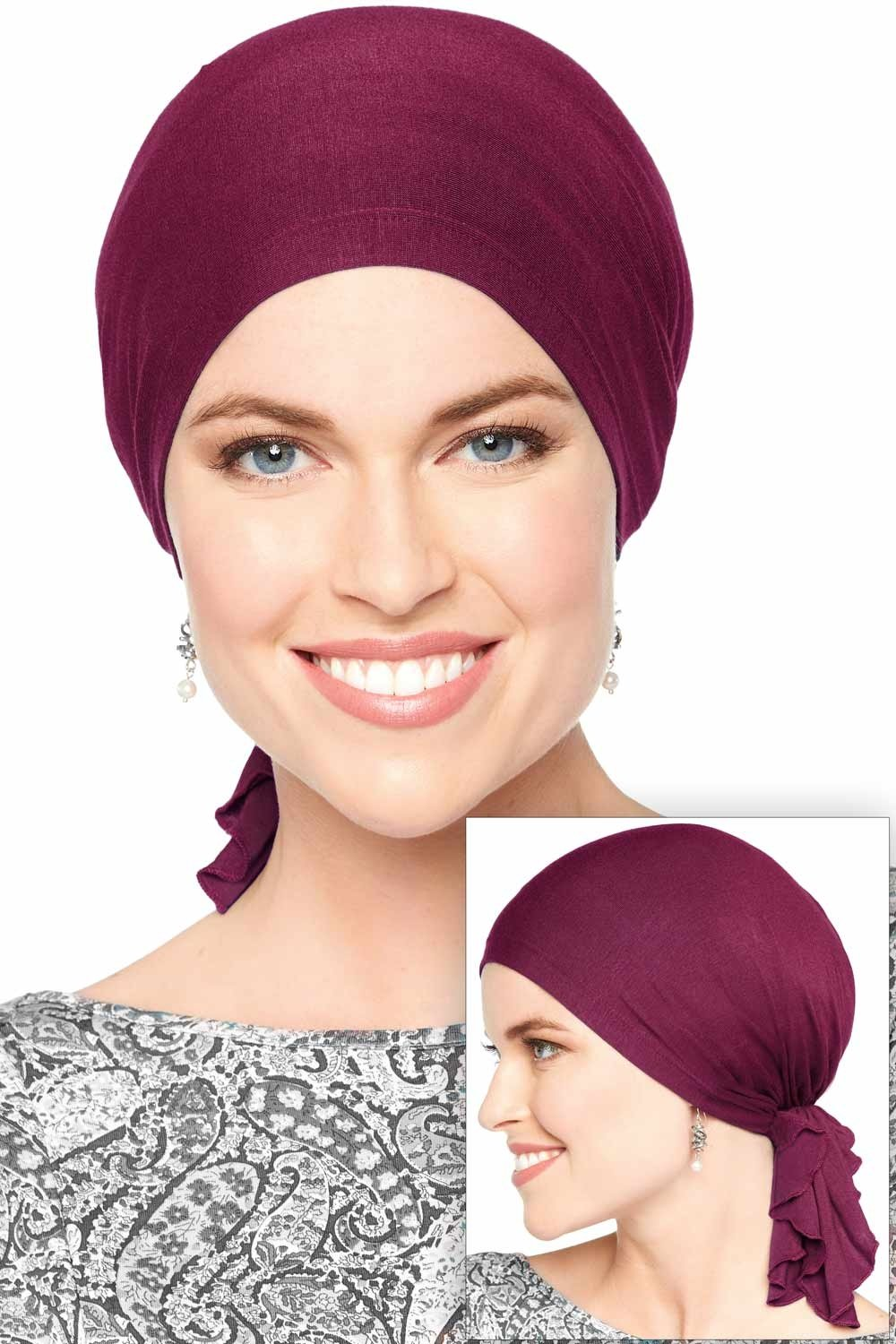 Bamboo Slip On Pre Tied Scarf | Head Scarf | Chemo & Cancer Scarves Luxury Bamboo - Denim Headcovers Unlimited SV-70122-DEN
