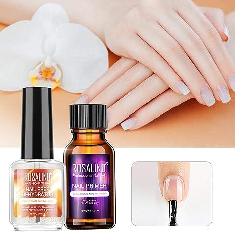 2 piezas de deshidratante de preparación de uñas natural + imprimación adhesiva, aceite de deshidratación equilibrante de la capa de imprimación, uñas ...