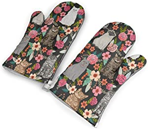 Cat Garden Flowers Florals Vintage Style Watercolor Kitchen Oven Mitts, Cotton Long Microwave Oven Gloves, Extreme Heat Resistant 572 Degrees Nonslip Gloves for Potholders Cooking, BBQ (1 Pair)