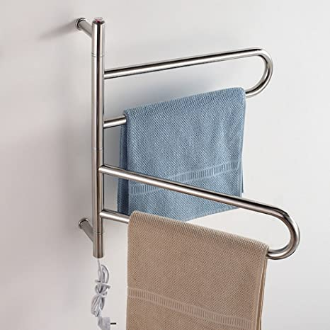 Rotable 304 acero inoxidable eléctrico montado en la pared toalleros calentadores de toallas