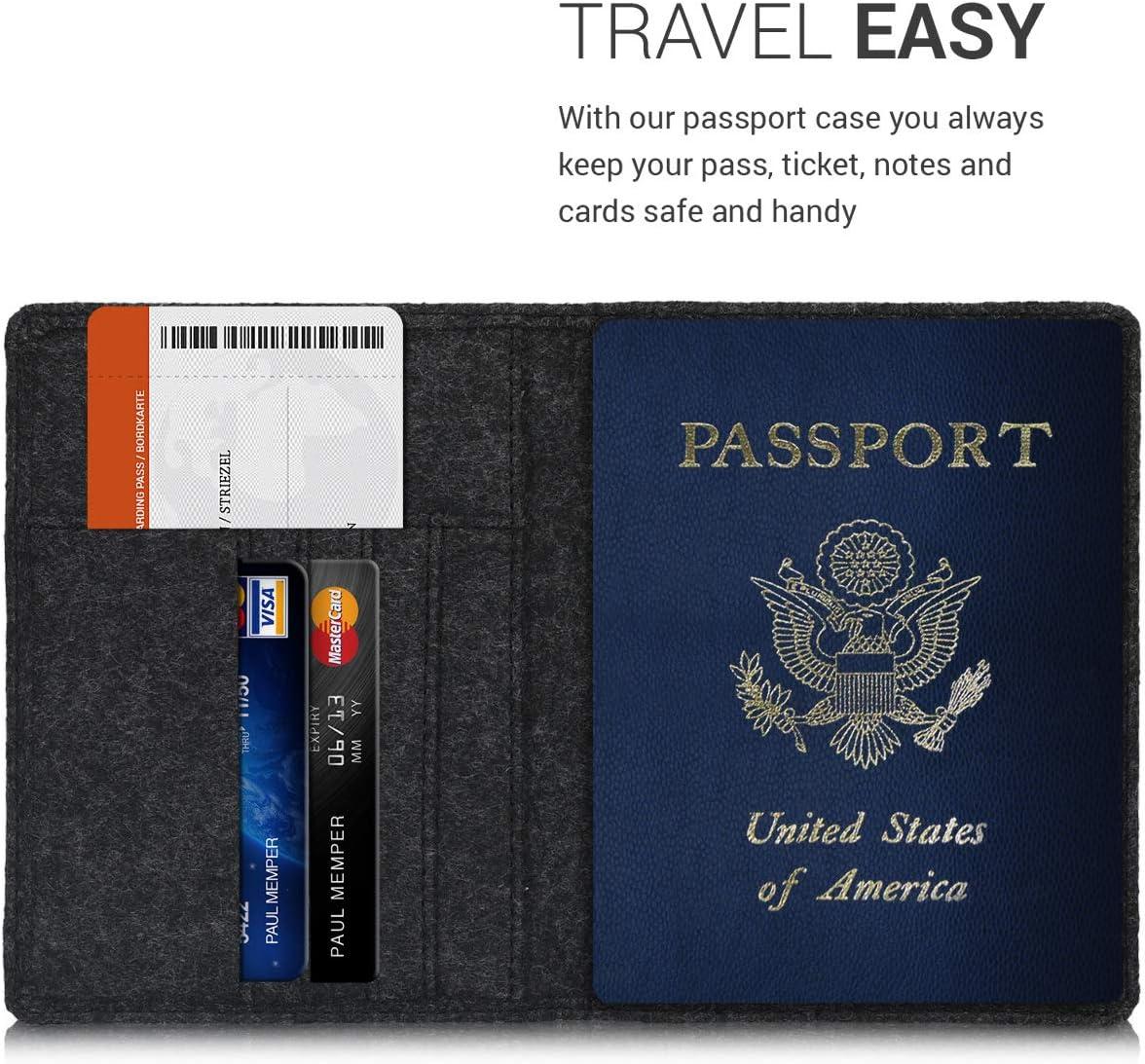 Felt Passport Cover Protective Case Travel Wallet for Men /& Women kwmobile Passport Holder with Card Slots Felt Dark Grey