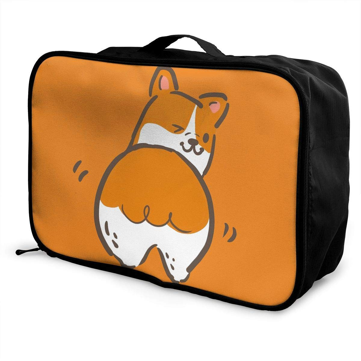 Portable Luggage Duffel Bag Cute Corgi Travel Bags Carry-on In Trolley Handle