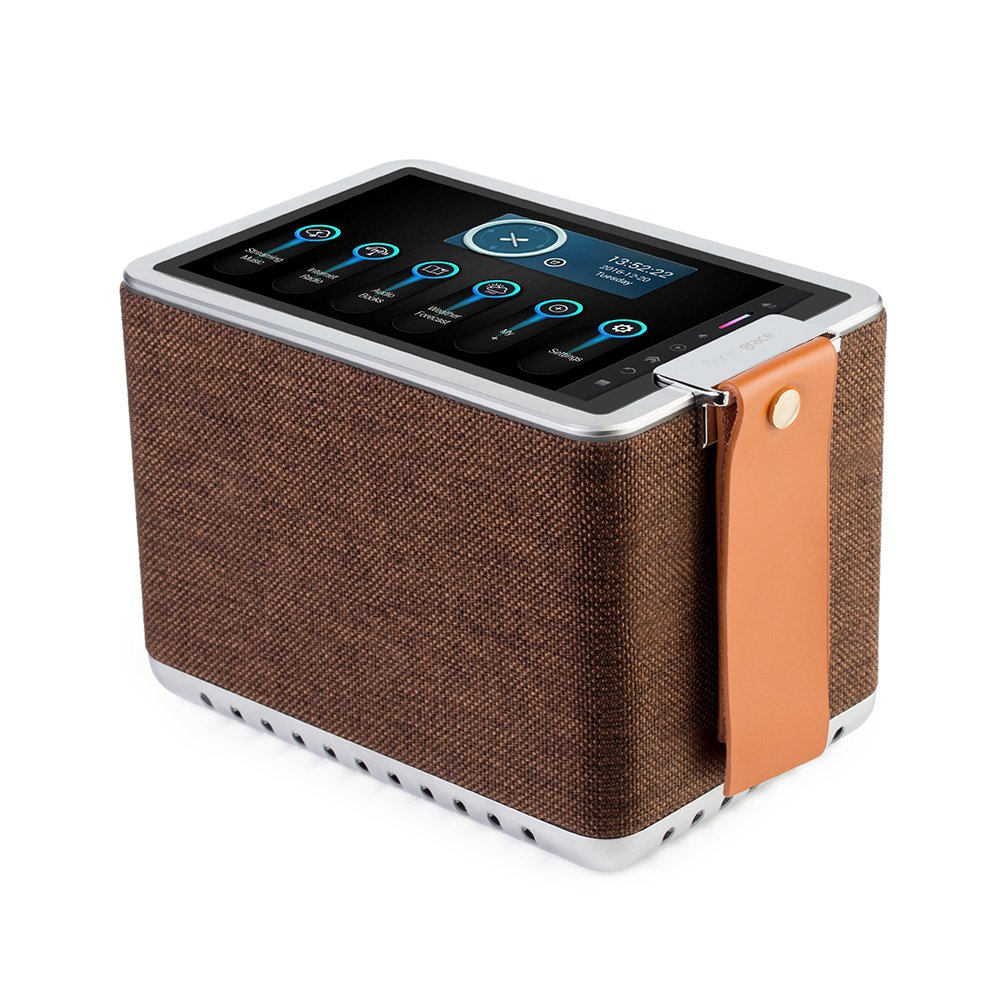 Sonicgrace WIFI Internet Radio Bluetooth Speaker with 8'' High Definition Touchscreen, HD Sound Extra Bass Music Player for Stream Music(Brown)