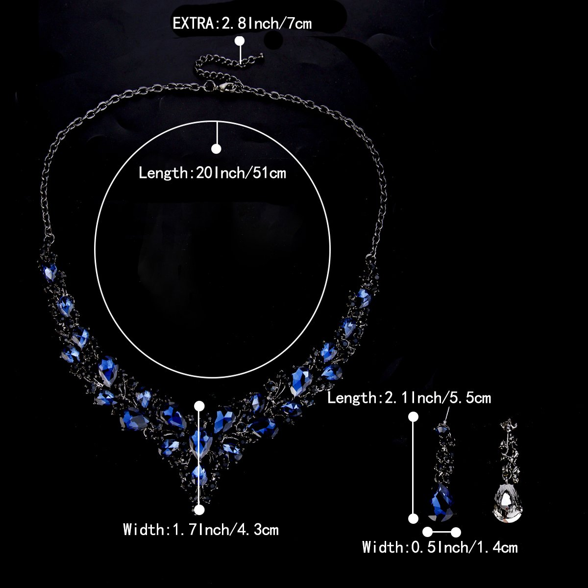 BriLove Wedding Bridal Necklace Earrings Jewelry Set for Women Austrian Crystal Teardrop Cluster Statement Necklace Dangle Earrings Set Navy Blue Sapphire Color Black-Silver-Tone by BriLove (Image #4)