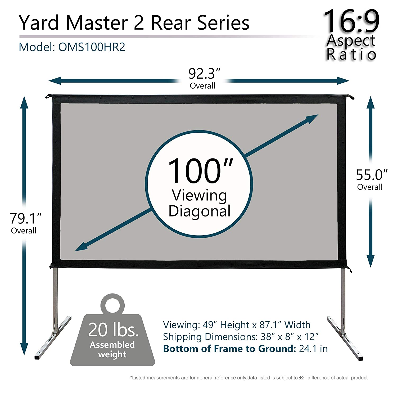 Elite Screens OMS120H2 Yard Master 2 Mobile Outdoor Leinwand 120 Zoll Wei/ß//schwarz 304 cm