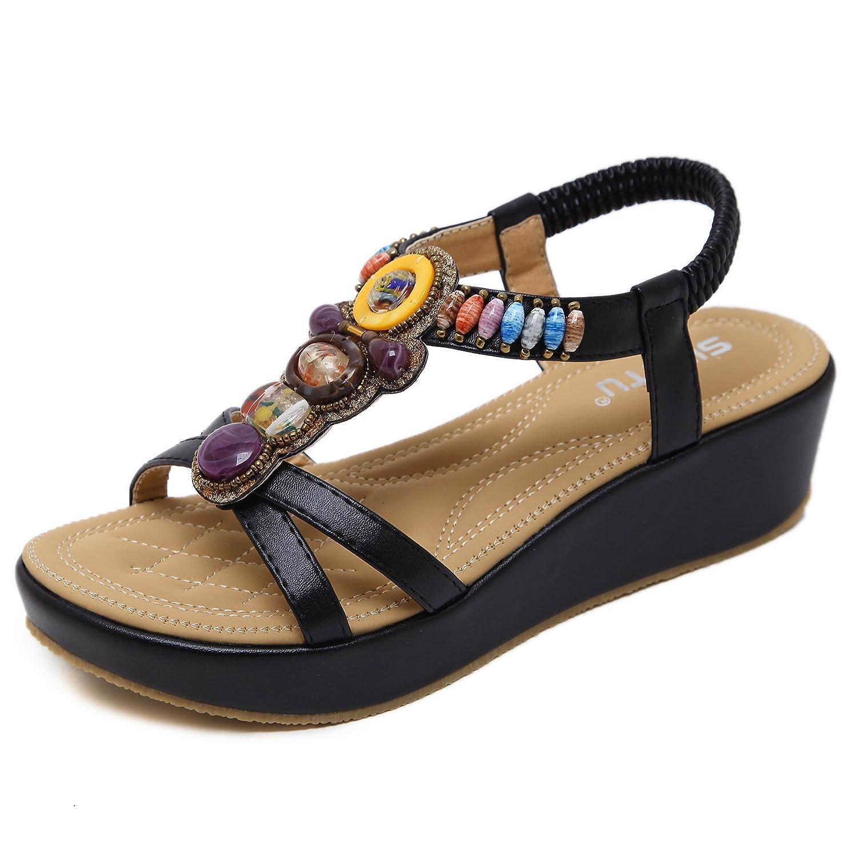 Suetar-SKT Las Sandalias Peep-Toe de la Plataforma del tamaño Grande de Las Mujeres Zapatos de Playa con Cuentas Bohemios de la Manera Simple del Verano
