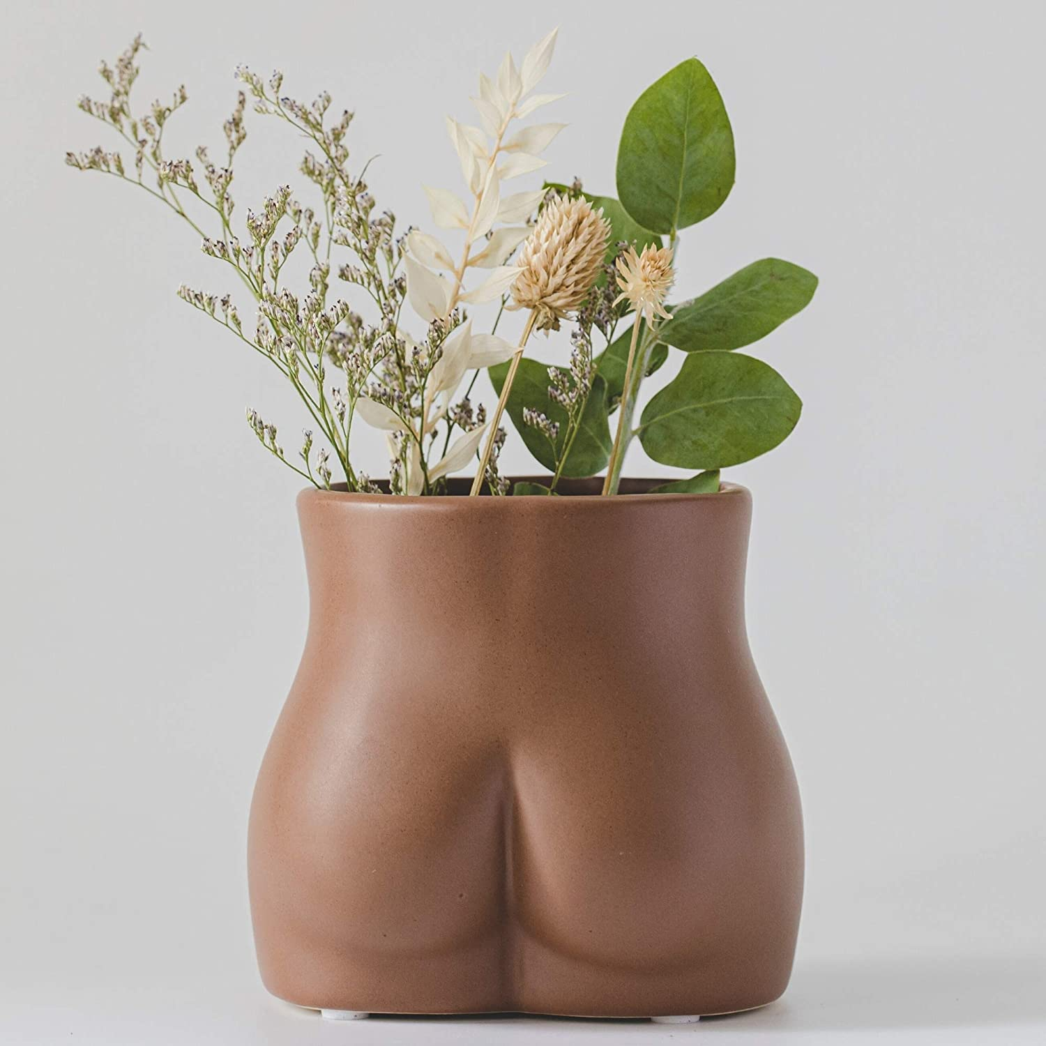 Female Form Body Flower Vase, Ceramic Vases for Modern Boho Home Decor, Lady Butt Vase, Indoor Planter Plant Pot, Feminist Decors Cute Chic Small Accent Pieces