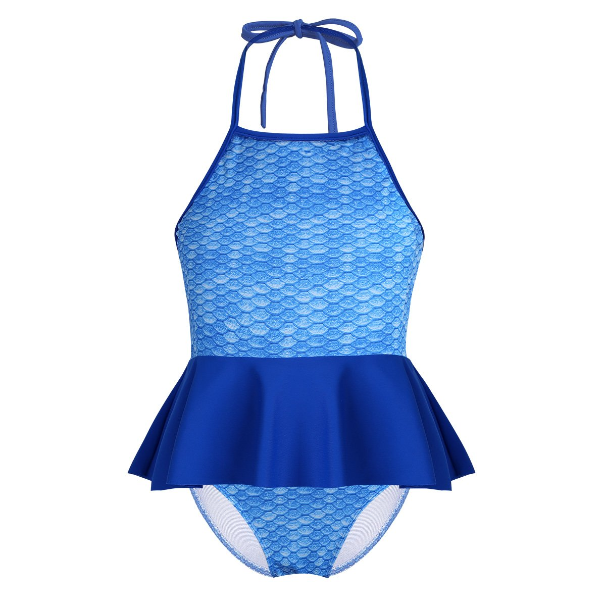 0f1a9e68f5e10 Amazon.com: TiaoBug Kids Girls 2PCS Tankini Bikini Mermaid Swimsuit Swimwear  Bathing Suit Halter Tops with Bottom Set: Clothing