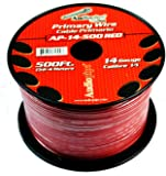 Audiopipe Red 500' Feet 14 Gauge Car Primary Power Cable Remote Wire Lead