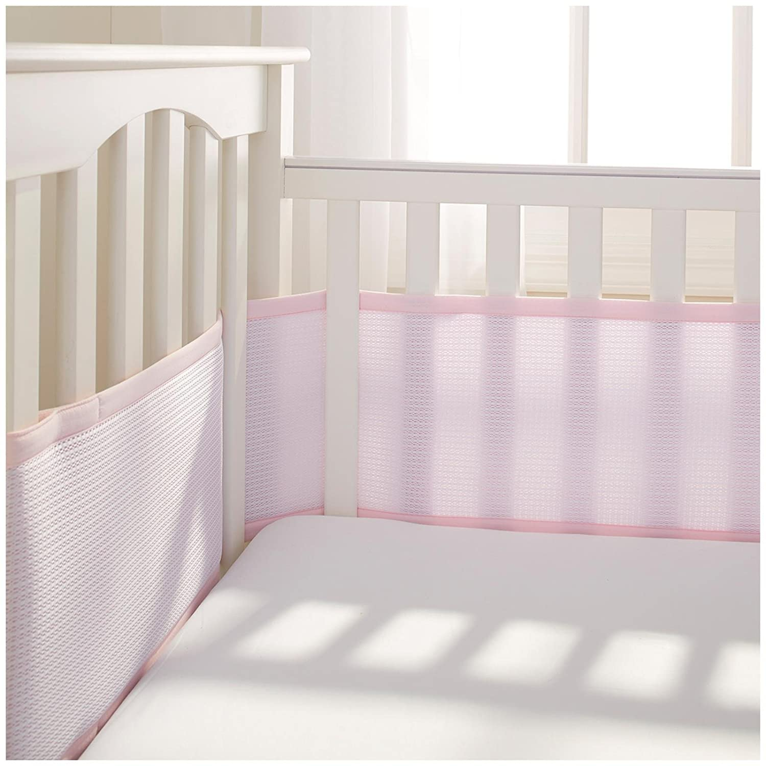 BreathableBaby | Deluxe Breathable Mesh Crib Liner | Pink 25103