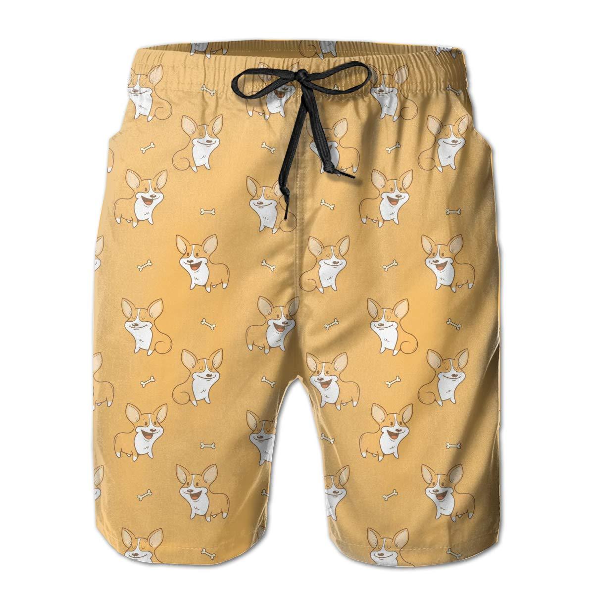 HZamora/_H Mens Cute Cartoon Corgi Dogs Bones Summer Breathable Quick-Drying Swim Trunks Beach Shorts Board Shorts XL