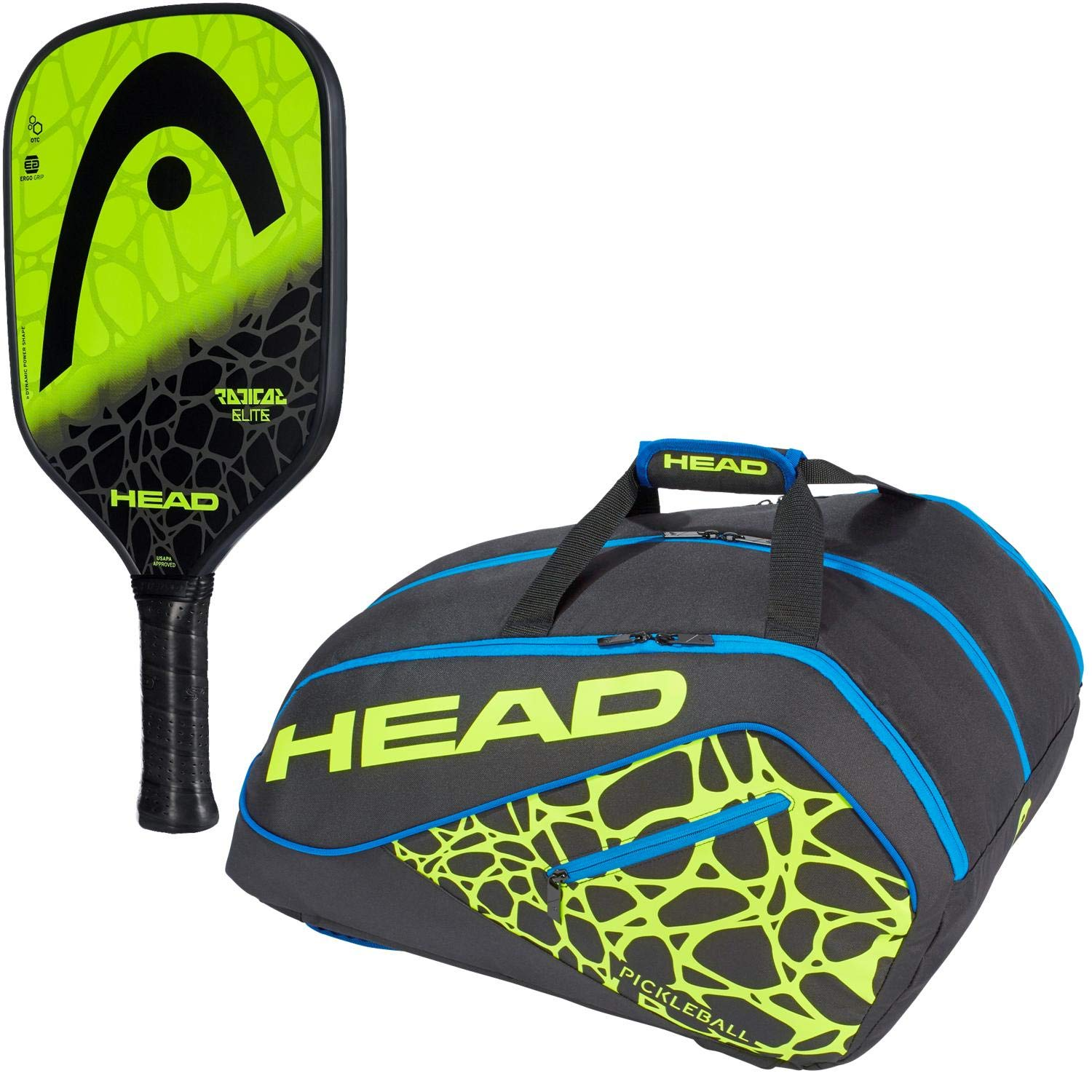 Amazon.com : HEAD Radical Elite Composite Black/Lime Pickleball Paddle Starter Kit or Set Bundled with a Black/Neon Yellow/Blue Tour Team Supercombi ...