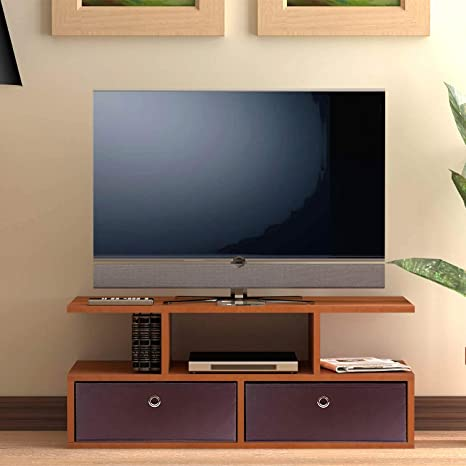 3d010f3b584 Klaxon Vector Wooden TV Unit with Fabric Drawer - Cherry   Brown  Amazon.in   Home   Kitchen