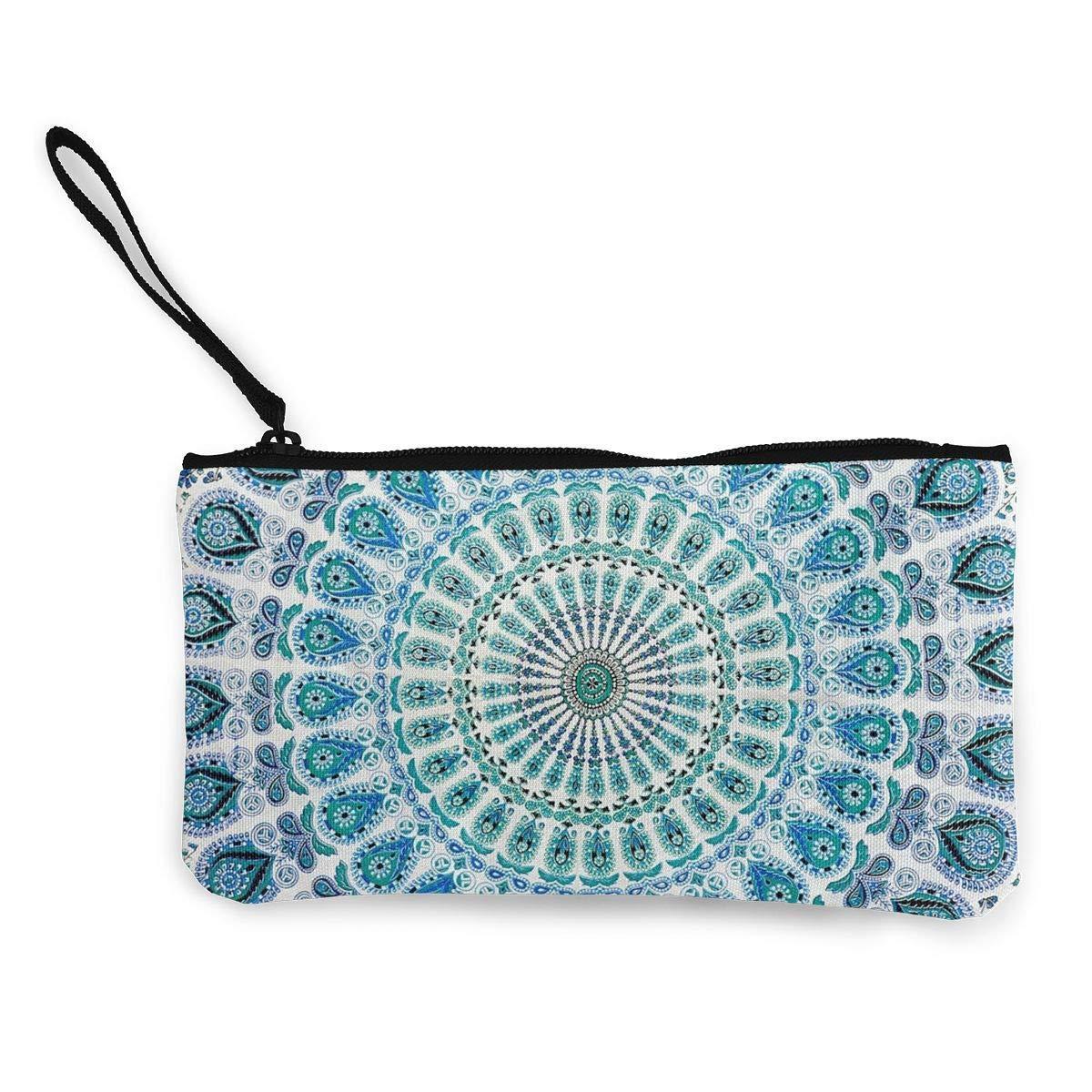 Coin Purse Gallery Mandala Green Womens Zip Canvas Small Purse TravelTrendy Bag
