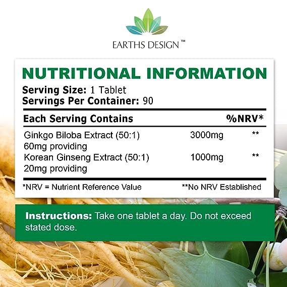 Ginkgo Biloba y Ginseng Coreano - Alta Concentración - Extracto de Ginkgo 50:1 3000 mg | Extracto de Ginseng 50:1 1000 mg - Apto Para Vegetarianos - 90 ...