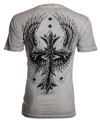 e9e863e9 Affliction Archaic Mens T-Shirt Uprising Cross Wings Tattoo Biker UFC  (Medium)